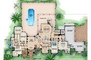 Mediterranean Style House Plan - 5 Beds 6.5 Baths 10875 Sq/Ft Plan #27-536 Floor Plan - Main Floor Plan