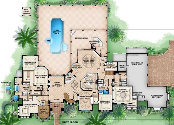 Mediterranean Floor Plan - Main Floor Plan #27-536
