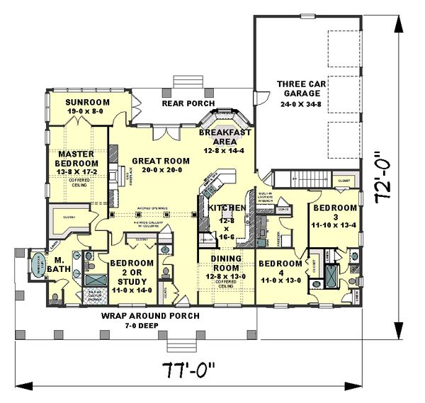 Craftsman Floor Plan - Main Floor Plan Plan #44-186