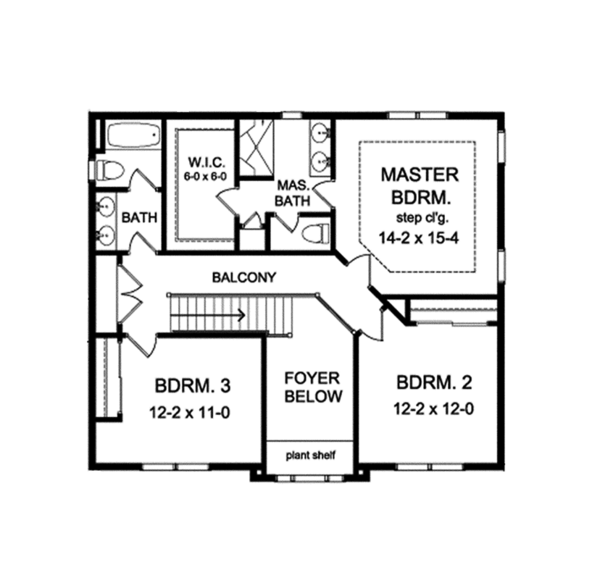 Colonial Floor Plan - Upper Floor Plan Plan #1010-126