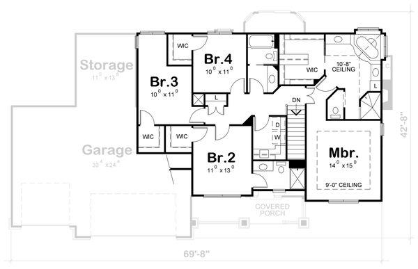 Dream House Plan - Craftsman Floor Plan - Upper Floor Plan #20-2122