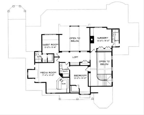 Craftsman Floor Plan - Upper Floor Plan Plan #413-122