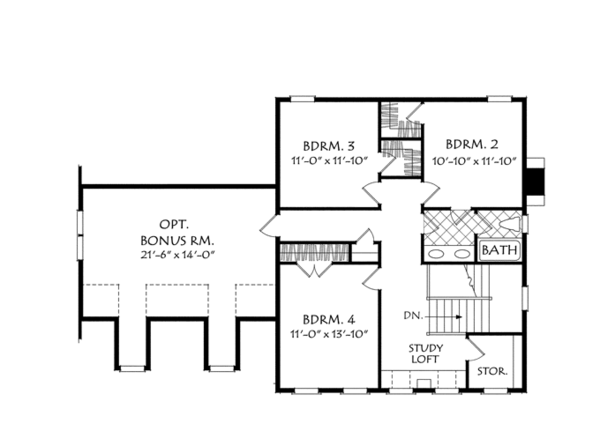 Traditional Floor Plan - Upper Floor Plan Plan #927-955