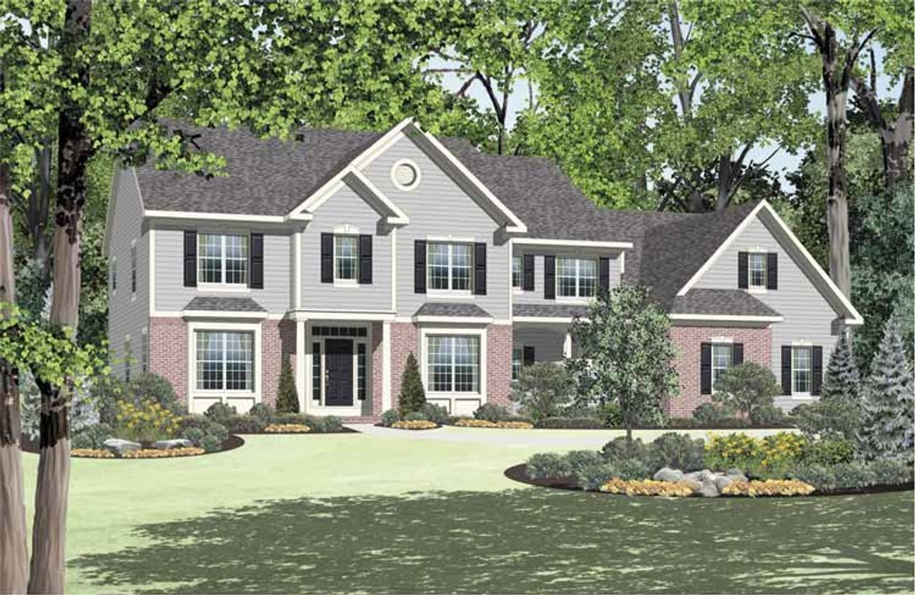 Colonial Exterior Front Elevation Plan 328 449
