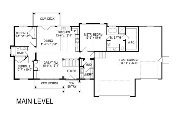 Craftsman Floor Plan - Main Floor Plan Plan #920-32