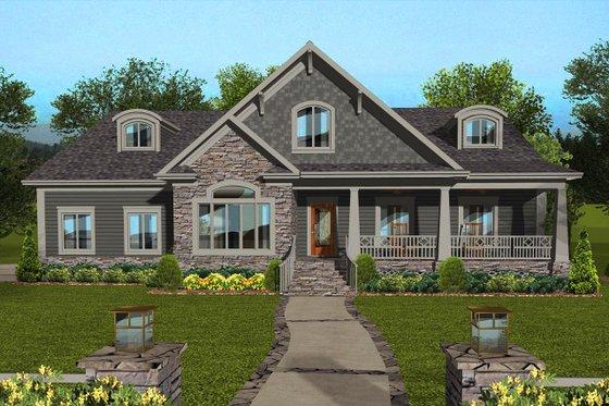 Craftsman Exterior - Front Elevation Plan #56-713
