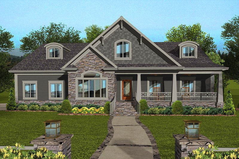 Craftsman Exterior - Front Elevation Plan #56-713
