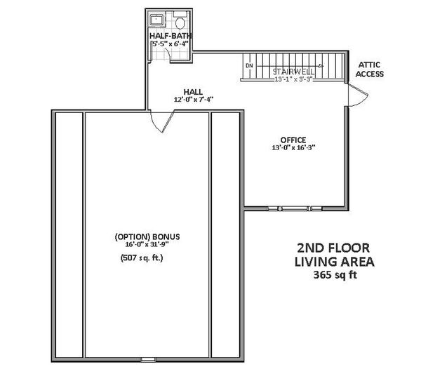 Upper level floor plan - 2700 square foot Craftsman home