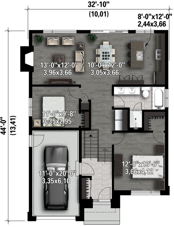 Contemporary Floor Plan - Main Floor Plan Plan #25-4284