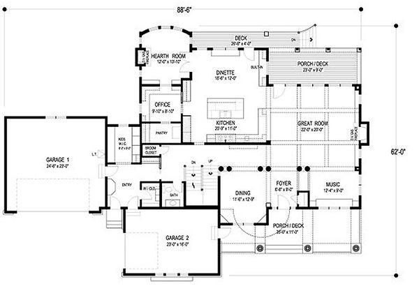 Traditional Floor Plan - Main Floor Plan Plan #56-604
