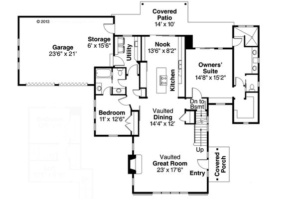 Farmhouse Floor Plan - Main Floor Plan Plan #124-901