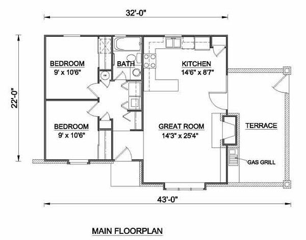 Tudor Floor Plan - Main Floor Plan Plan #116-113