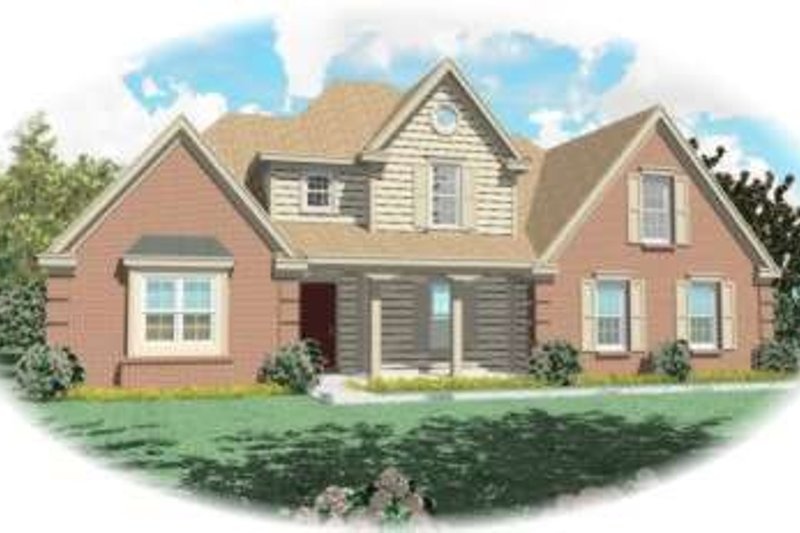 Traditional Style House Plan - 3 Beds 2.5 Baths 3900 Sq/Ft Plan #81-799 Exterior - Front Elevation