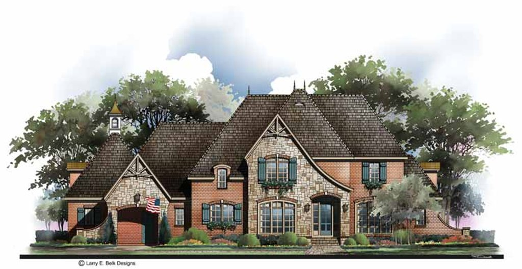 Country style house plan 4 beds 4 5 baths 4228 sq ft for Cottage house plans with porte cochere
