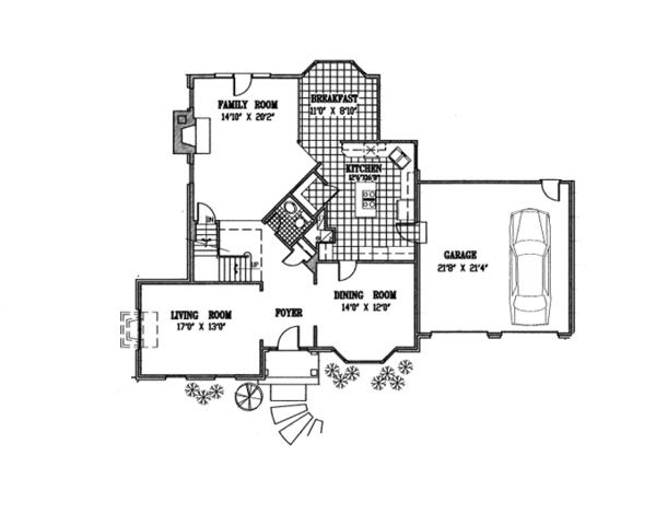 Colonial Floor Plan - Main Floor Plan Plan #953-82
