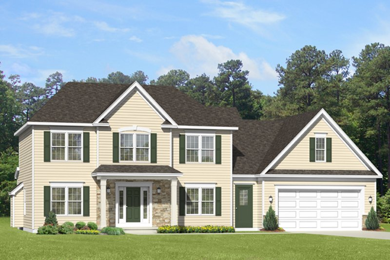 Colonial Exterior - Front Elevation Plan #1010-90