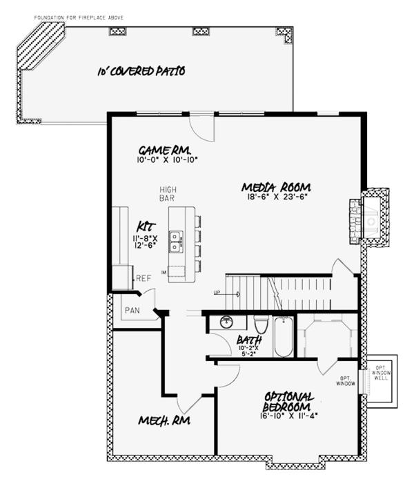 House Plan Design - Country Floor Plan - Lower Floor Plan #17-3380