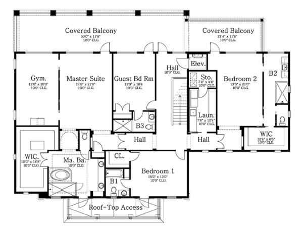 Classical Floor Plan - Upper Floor Plan Plan #1058-83