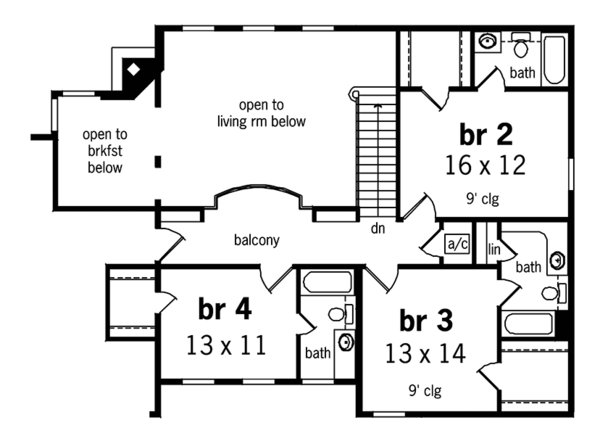 Country Floor Plan - Upper Floor Plan Plan #45-449