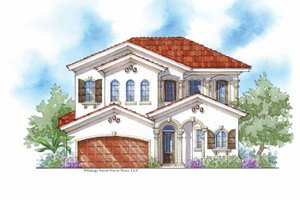 Mediterranean Exterior - Front Elevation Plan #938-25
