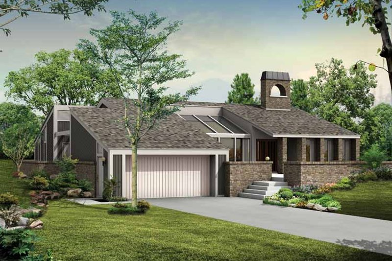 Home Plan - Contemporary Exterior - Front Elevation Plan #72-757