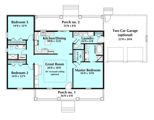 Ranch Floor Plan - Main Floor Plan Plan #44-171