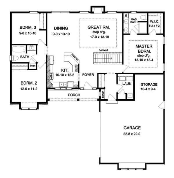 Ranch Floor Plan - Main Floor Plan Plan #1010-190