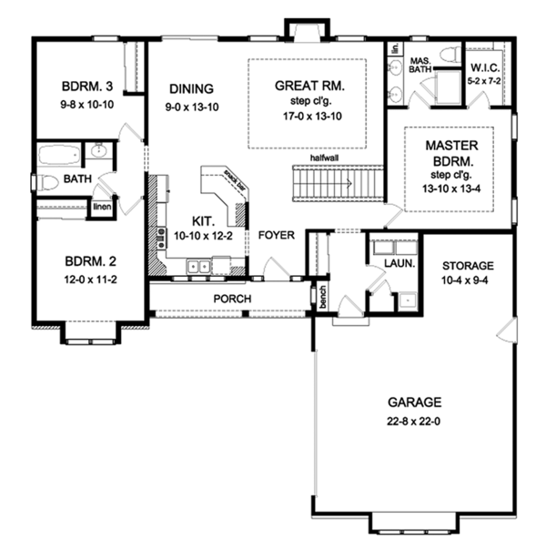 Dream House Plan - Ranch Floor Plan - Main Floor Plan #1010-190