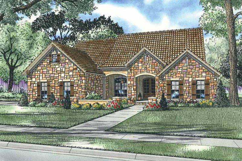 Dream House Plan - Mediterranean Exterior - Front Elevation Plan #17-2926