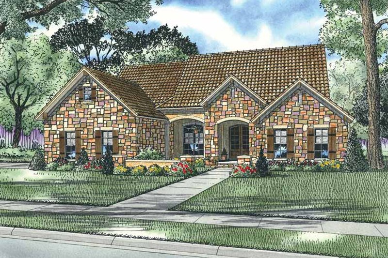 House Plan Design - Mediterranean Exterior - Front Elevation Plan #17-2926