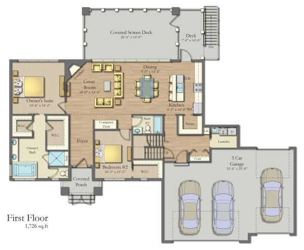 Craftsman Floor Plan - Main Floor Plan #1057-8