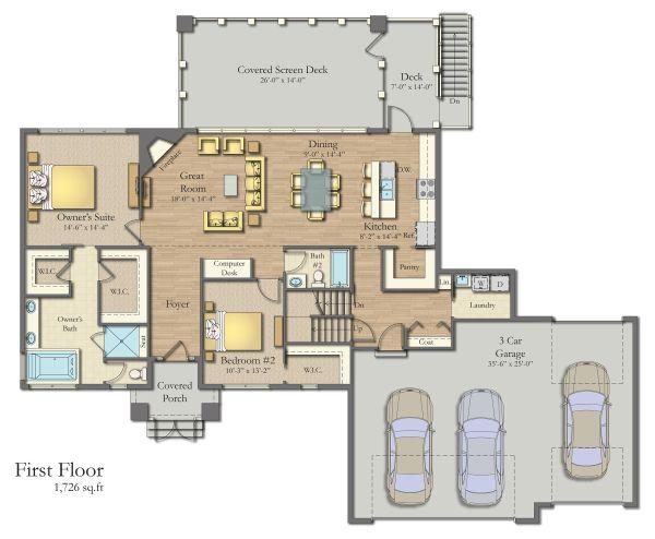 Dream House Plan - Craftsman Floor Plan - Main Floor Plan #1057-8
