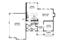 Colonial Floor Plan - Main Floor Plan Plan #1010-57