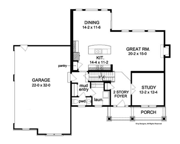 Colonial Floor Plan - Main Floor Plan Plan #1010-57