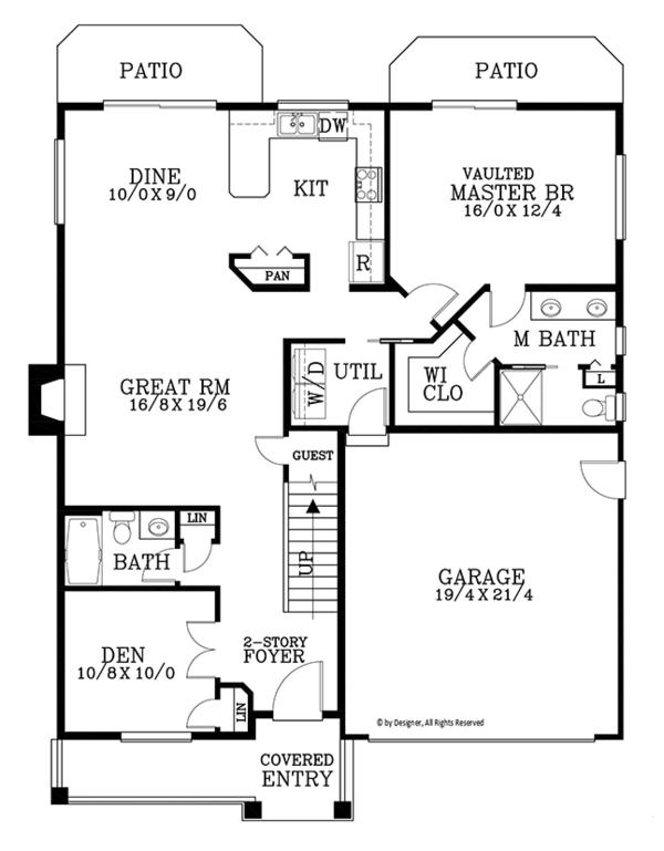 Traditional Floor Plan - Main Floor Plan Plan #53-578