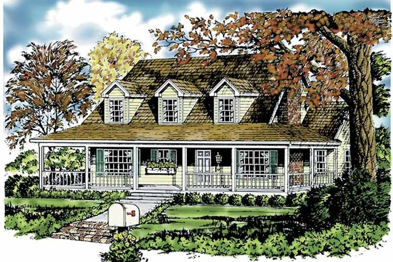 Country Exterior - Front Elevation Plan #40-441