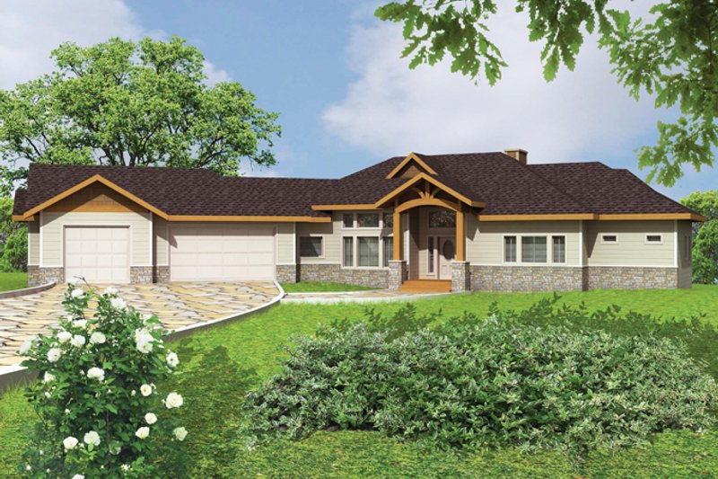 Ranch Exterior - Front Elevation Plan #117-861