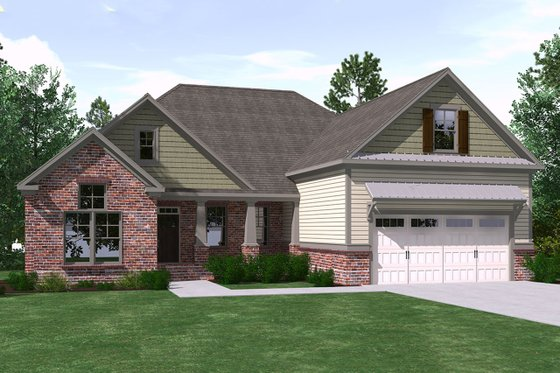 Ranch Exterior - Front Elevation Plan #1071-14