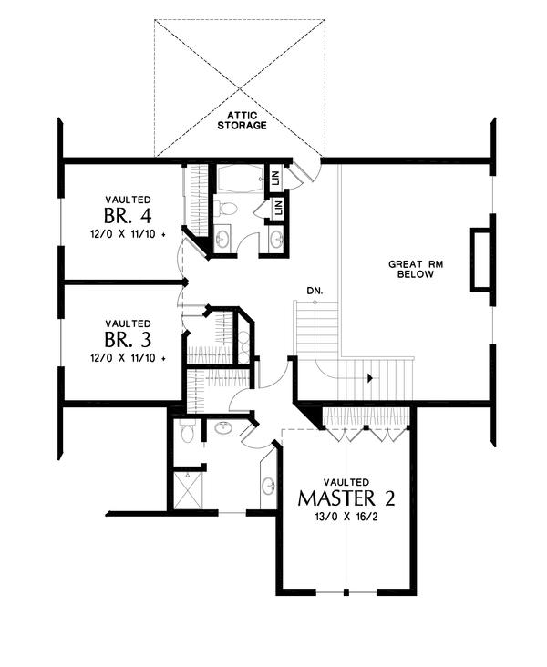 Craftsman Floor Plan - Upper Floor Plan Plan #48-994