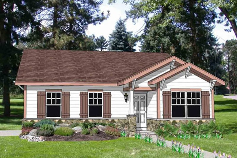 Bungalow Style House Plan - 3 Beds 2 Baths 1234 Sq/Ft Plan #116-259 Exterior - Front Elevation