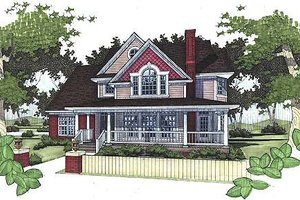 Architectural House Design - Country Exterior - Front Elevation Plan #120-145