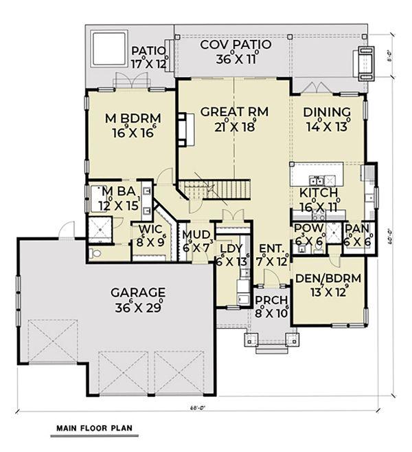 Craftsman Floor Plan - Main Floor Plan Plan #1070-59