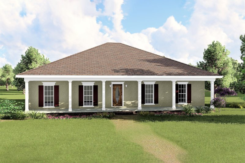 Southern Exterior - Front Elevation Plan #44-133