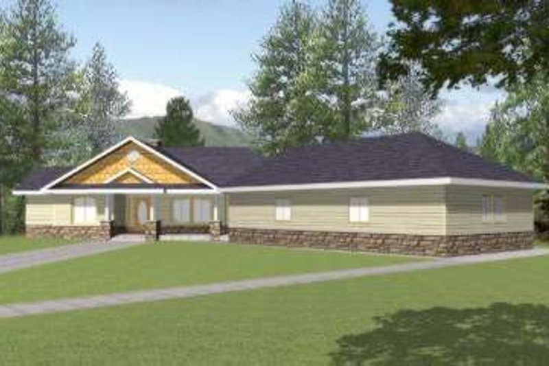 Traditional Exterior - Front Elevation Plan #117-427 - Houseplans.com
