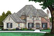 European Style House Plan - 4 Beds 3 Baths 3273 Sq/Ft Plan #310-996 Exterior - Front Elevation