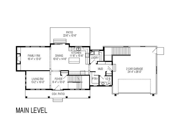 Craftsman Floor Plan - Main Floor Plan Plan #920-9