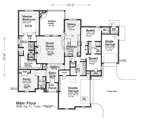 Architectural House Design - European Floor Plan - Main Floor Plan #310-1284