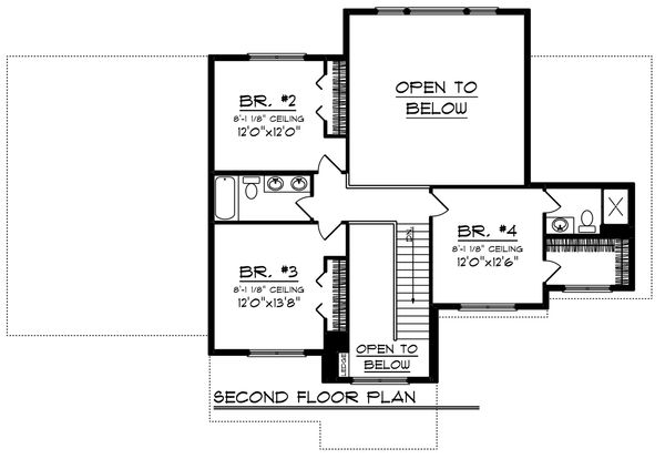 Craftsman Floor Plan - Upper Floor Plan Plan #70-1249