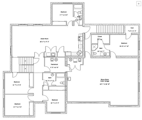Ranch Floor Plan - Lower Floor Plan Plan #1060-27