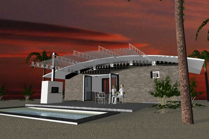 Modern Style House Plan - 1 Beds 1 Baths 449 Sq/Ft Plan #535-7 Exterior - Rear Elevation